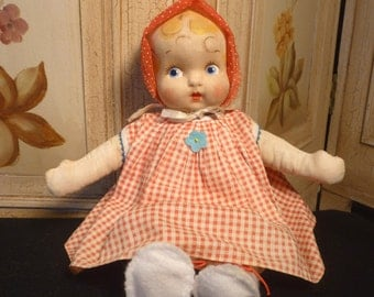 Vintage Cloth Mask Face Seated Doll