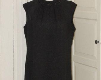 60s Sheath Dress, Linen, Beaded Neckline, LBD, Kay Windsor, NWOT, Size Medium/Large