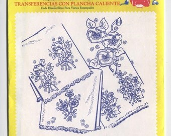Various LINENS and PILLOWCASE Designs - Hot Iron Embroidery Transfers - Aunt Martha's - New & Uncut in OPENED Packaging - On Sale!