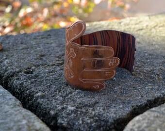 Metal Ink'd - Old School Tattooed Sleeve Copper Cuff Bracelet Hand Engraved & Patinaed. - ReaganJuel: Inkd54