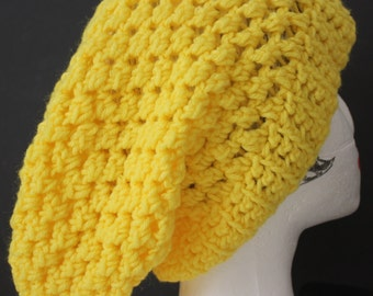 """Knitted """"Canary"""" Yellow Beanie,  Slouchy Head Accessory,  Boho-chic"""