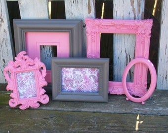 Set of 5 Pink and Gray Picture Frames for Gallery Wall, Wedding Decor, Nursery Decor