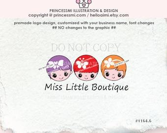 1164-6 child business logo, Three little girls logo , hair accessories ,  bow heart , accessories, girl jewelry business branding