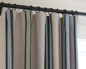 Soft pleats draperies black out lined 2 panels Striped fabric linen black grey green blue turquoise