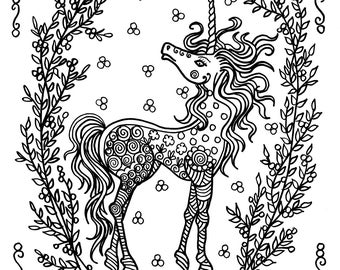 Unicorn Coloring Pages Adults Instant Downloads Fantasy Art Digital