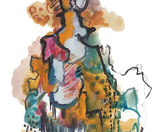 Original Abstract Watercolor Figure Painting, Surreal Fashion Illustration - 372