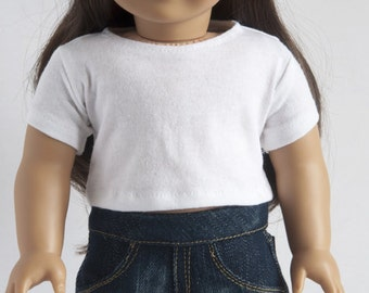 AG Doll Clothes - White, Crop Tee, Top, T-Shirt, , Short Sleeves, 18 inch doll