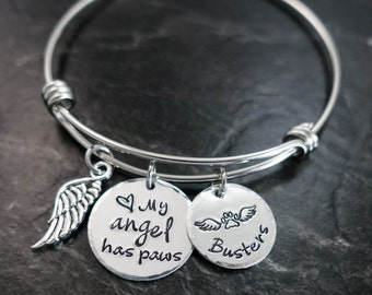 Pet Memorial Jewelry / Charm Bracelet / My angel has paws / Wire Bangle / Pet Memorial Bracelet / Loss of Pet / Wire Bangle