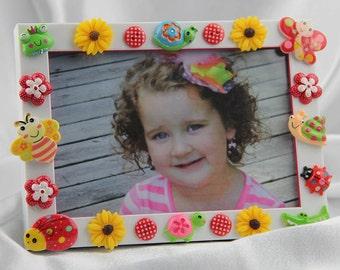Children's Garden Button Picture Frame, Birthday, All Occasion Gift