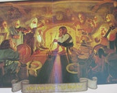 """Vintage 1977 Tolkien Pull Out from Calendar 13"""" by 24"""" Illustration by Brothers Hildebrandt An Unexpected Party"""