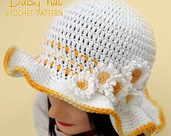 DAISY Spring/Summer hat Crochet pattern in child, teen and adult size. Easy and quick to make! Pattern No. 196