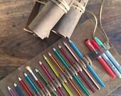 Pencil Pen Case Leather Handmade Pen Roll Wrap Pencil Pouch Sack Holder Sleeve Artist Roll-up , Aixa Sobin