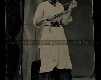 Rare Occupational Tintype Photo Seamstress Weaver Holding Wooden Loom Shuttle