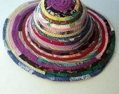 Fabric Sunbonnet, Sun Hat, Brim, Handmade Multicolor Fabric, Braided Rug Style, Made to Order Upcycled, Bohemian Hippie Fashion Accessories