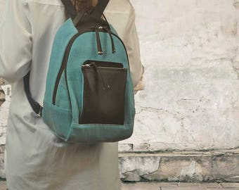 Handmade canvas-leather backpack,daypack,knapsack ,named Myrto