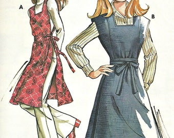 1970's Kwik Sew Pattern Tunic Apron Multi-Sized 5,7,9,11 Wrap Dress