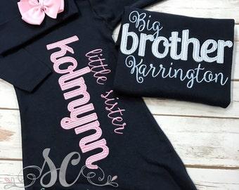 Big Brother Little Sister Set - Brother Shirts - Sister Shirts - Newborn Girl Clothes - Gender Reveal Set - Brother Shirt Shirts