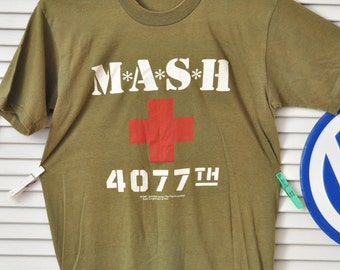 Vintage 80s MASH T-shirt/4077th Army Green & Medic Red Cross/Distressed Cotton Adults Youth Small/Mash shirt/Theater Costume as is Military