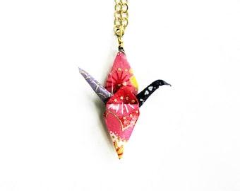 Origami Crane Necklace Joyful Peace Crane Necklace Colorful Blue Pink and Purple