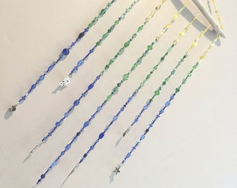 Blue, Green & Yellow Ombre Beaded Mobile, Ombre Beaded Hanging Mobile, Ocean Beaded Hanging Mobile, Ombre Beaded Mobile, Beaded Mobile