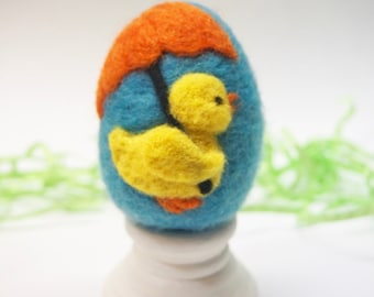Needle Felted Egg - Rainy Day Duck - Easter Egg