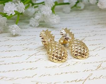 Pineapple Earrings, Gold Earrings, Pineapple Stud Earrings, Dainty Earrings, Pineapple Studs, Gold Pineapple Earrings, Summer Earrings, Gift
