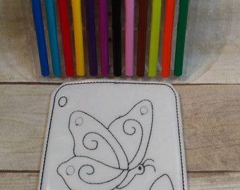 Flying Butterfly Coloring Page, Felt Coloring Page, Vinyl Coloring Page, kids Coloring Page, Dry Erase Coloring, Reusable coloring