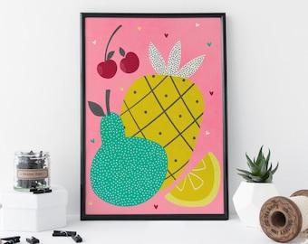 Tropical Fruit Art - Pineapple Art Print -  Fruit Print - Kitchen Art - A4 Art Print - Home Decor Artwork - 8 x 11 Print