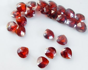 6 Pieces 8mm Red Cubic Zirconia faceted heart briolette (Garnet color)
