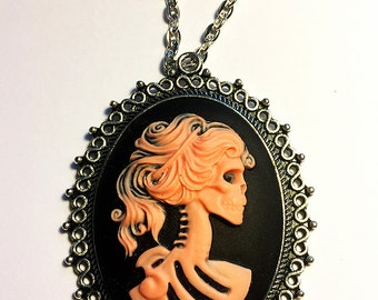 Lady Skeleton Cameo Necklace Jewelry