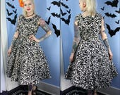 Womens True Vintage 1950s Black and White Floral Swing Dress Handmade Cotton Pinup Retro Style Modern Size Medium Large As Is