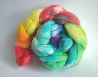 Rainbow Explosion Organically farmed Merino/Mulberry Silk combed tops for spinning