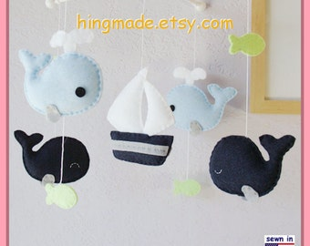 Baby Mobile, Whales Mobile, Sailboat Mobile, Nautical Baby Mobile, Neutral Mobile - Navy Blue Green White, Match Bedding Mobile