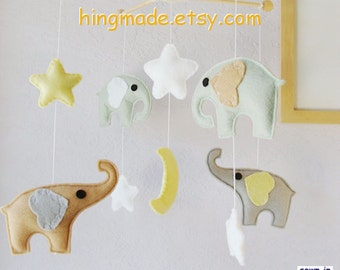 Baby Crib Mobile, Nursery Mobile, Elephant Mobile, Moon Star Mobile, Neutral Mobile, Sage Green Tan Gray, Match Bedding Mobile