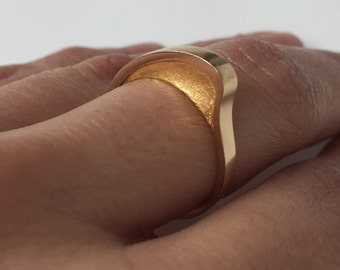 Gold Swell Ring   Minimalist   Modern   Yellow Rose or White Gold   Designer   Stacking Ring   Architectural