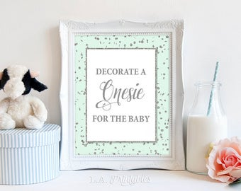 Decorate a Onesie for the Baby Shower Sign, Mint & Silver Glitter Table Sign, Neutral Shower Sign, 2 Sizes, DIY Printable, INSTANT DOWNLOAD