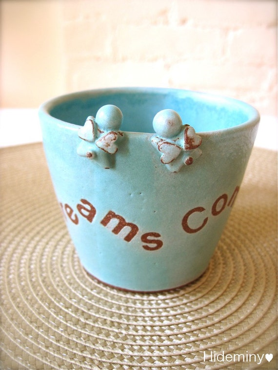 One of a kind, Dreams Come True - Lovely Twin Angel Turquoise Mug, Handmade Ceramic Mug