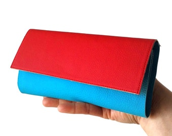 Red and turquoise womens wallet leather, vegan leather wallet for her, blue turquoise wallet, red wallet women, Iphone wallet, cute wallet