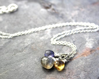 Gemstone Pendant Necklace Labradorite Iolite Citrine Sterling Silver Multi Gem Faceted