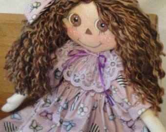 Primitive Rag Doll, purple rag cloth doll, hand made 18 inch, soft sculptured cloth art doll by Morning Mist Designs