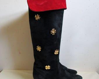 Vintage ESCADA Early 90s Boots Black and Red Suede Knee High Kitten Heel 1990s Designer Footwear 38.5