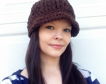 Womens Brown Chunky Hat With Brim Thick Winter Beanie, Ready To ship, Beanie- Brimmed hat