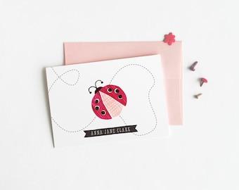 Ladybug Personalized Stationery, Set of 12 Custom Note Cards for Girls // LADYBUG