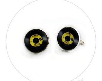 Boutons de Manchette - Disque Vinyle Jaune