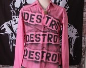 Punk Men's Shirt Button Up Long Sleeve Seditionaries Top 77 Sex Pistols Destroy Pink Punk Rock Dress Shirt