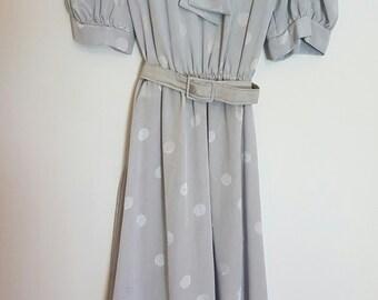 Vintage 1980's silver polka dots secretary dress