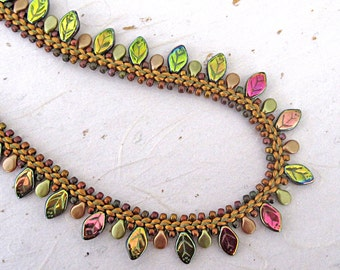 Beaded kumihimo necklace Prumihimo neckace Autumn leaves necklace Braided necklace