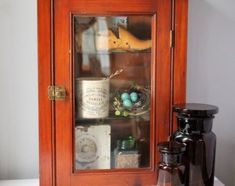 Early Pine Wall Display Cabinet - Medicine Cabinet - Curio - Retail Display