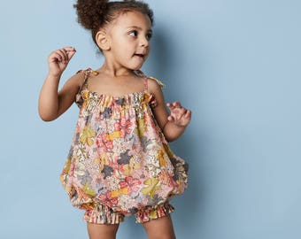 Girls Floral Bubble Romper// Liberty London Print Summer Romper// Mauvey Floral Sunsuit// Baby Girl Summer Outfit// Handmade Kids Clothing
