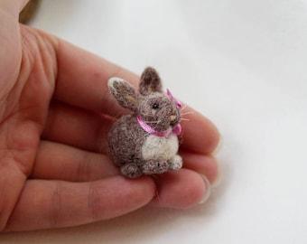 Tiny needle felted brown rabbit